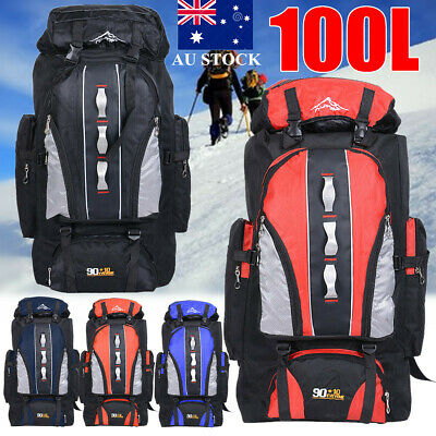AU34.91 • Buy 100L Backpack Waterproof Travel Rucksack Luggage Bag Camping Outdoor Hiking Tote