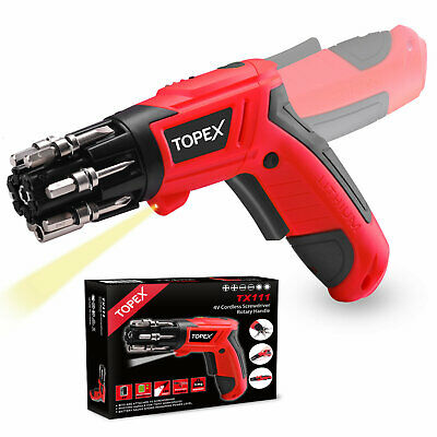 AU28.50 • Buy TOPEX 4V Max Lithium Cordless Electric Screwdriver W/ Built-in Bit Pivoting Body