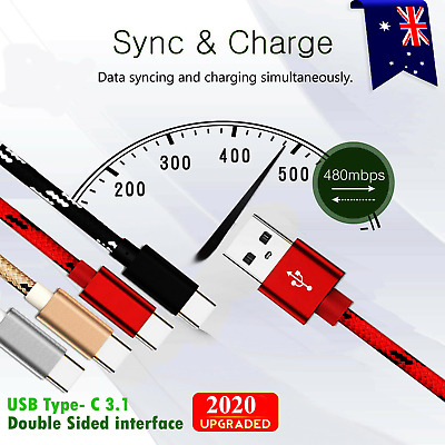 AU5.99 • Buy Fast Charger USB C Type-C Data Cable For Samsung S21 S20 S8 S9 S10 Note 10 Plus