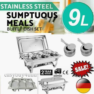 £46.50 • Buy 3 Pans Chafing Dish Set Stainless Steel 9l Party Cater Food Warmer 2 Fuel Holder