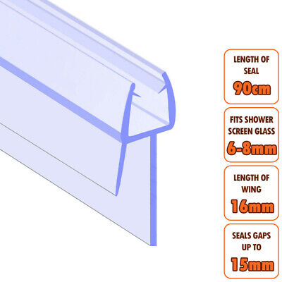 ECOSPA Bath Shower Screen Door Seal Strip • For 6-8mm Glass • Seals Gaps To 15mm • 4.99£