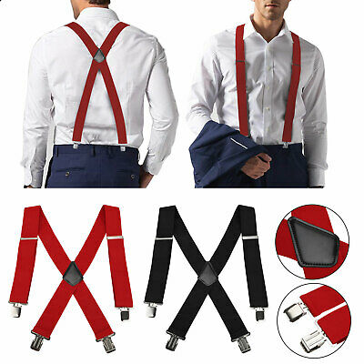$10.97 • Buy Mens Perry Belt Hook X-Back Elastic Suspenders Black Heavy Duty Work Adjustable