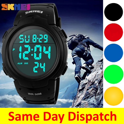 AU19.49 • Buy SKMEI Digital Sports Mens Watch Waterproof Water Resist Alarm Gold Military 1068