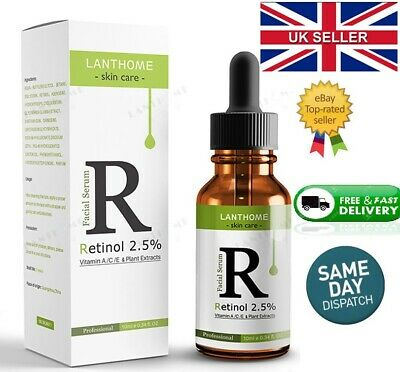 Retinol 2.5%  Vitamin A/C & E Collage Face Serum Anti Aging Wrinkles Acne Liquid • 4.99£