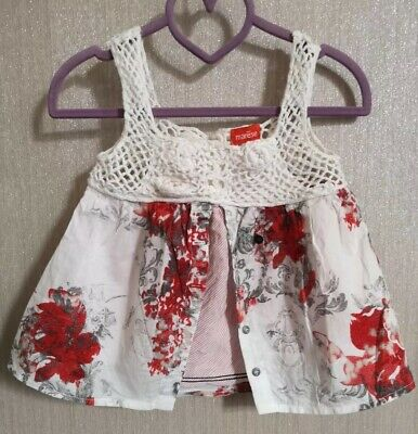 Marese Girls Red & White Floral Top With Crochet Detail Age 3 Years • 5£