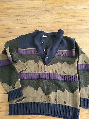 $21.95 • Buy Vintage Mens Harry Rosen Pull Over Sweater Button Collar Size Large EUC