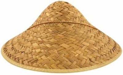Men's Chinese Straw Coolie Hat Chinese New Year Party Fancy Dress Oriental China • 6.99£