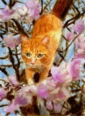 $11.99 • Buy BCB Orange Tabby Cat Magnolia Tree Print Of Painting ACEO 2.5 X 3.5 Inches
