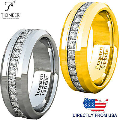$26.99 • Buy Tungsten Carbide Wedding Band Ring Eternity Cubic Zirconia Mens 8MM FREE ENGRAVE