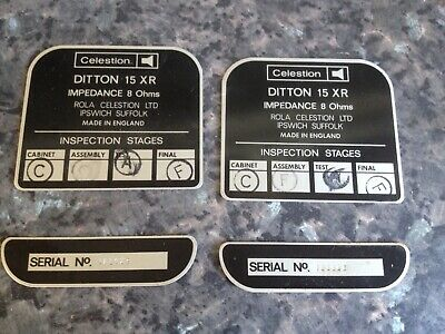 £12.99 • Buy Celestion Ditton 15xr  Id Plates Excellent Working Order