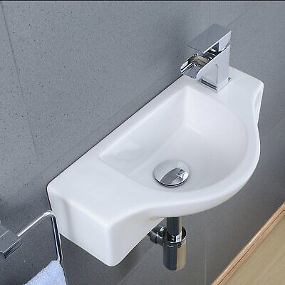 Modern Compact Cloakroom Wall Hung Basin Bathroom Hand Wash Sink White Ceramic • 36.69£