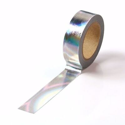 AU5.50 • Buy Washi Tape Foil Silver Holographic Metallic Gilded 15mm X 10m