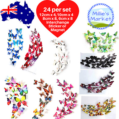 AU6.75 • Buy 24 Piece 3D Butterfly Wall Stickers Removable Decals Magnet Kids Nursery Wedding
