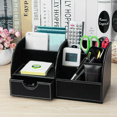 £12.99 • Buy Black Desk Leather Organiser Card Pen Phone Holder  Control Storage Box