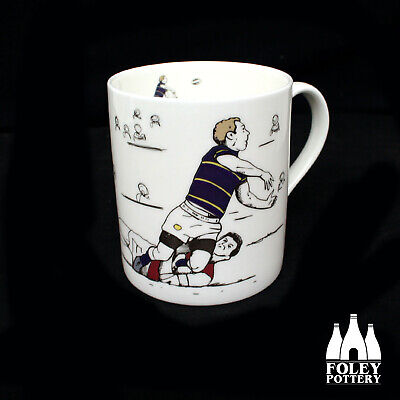 RUG: Leeds Rhinos, Rugby League, Inspired Illustrated  Mug By Foley Pottery  • 19.95£