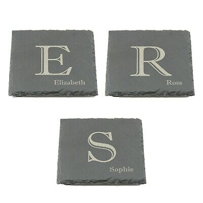 Personalised Slate Coaster, Custom Name Laser Engraved 100mm Coffee Tea  • 3.99£