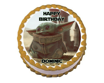 $8 • Buy BABY YODA MANDALORIAN Edible Image Birthday Cake Topper Decoration - 8  Round