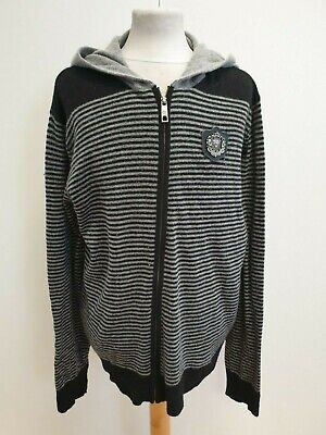I143 Mens Ed Hardy Grey Black Hooded Wool Blend Zip Up Hoodie Uk Xxl Eu 60 • 29.99£
