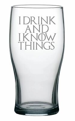 £9.99 • Buy Game Of Thrones Inspired Tulip Pint Glass With  I Drink And I Know Things  Quote