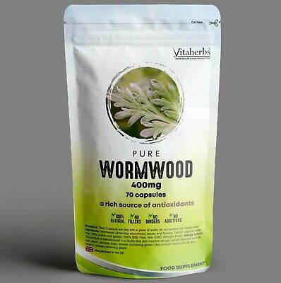 Pure Wormwood 400mg Capsules | Natural Parasite Cleanse |Candida Cleanse | Detox • 8.99£