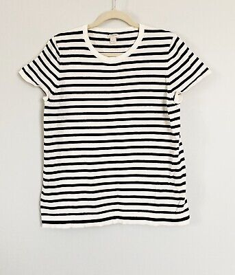 $19.99 • Buy J. Crew Black White Striped Short Sleeve Sweater Top Size XL NEW