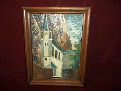 $48 • Buy Vintage German Hand Carved Wooden Cathedral Relief Picture Germany Black Forest