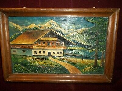 $48 • Buy Vintage German Hand Carved Wooden Chalet Relief Picture Germany Black Forest