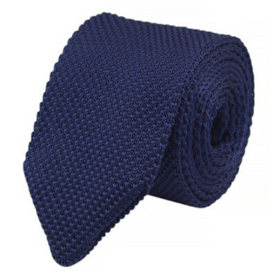 Navy Blue Waffle Knitted Wool Effect Skinny Tie. Excellent Quality & Reviews. • 7£