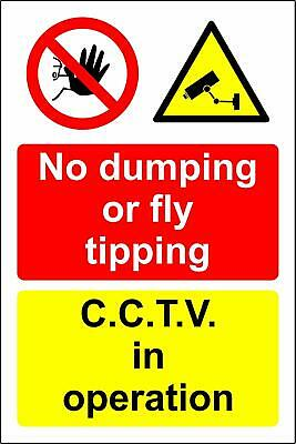 No Dumping Or Fly Tipping CCTV In Operation Safety Metal Park Safety Sign • 2.99£