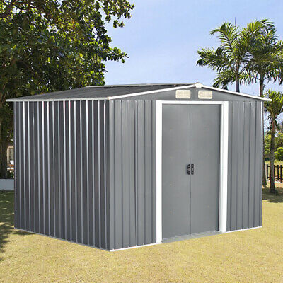 New Metal Garden Shed Apex Roof 10x8FT Storage House Tool Sheds With Free Base • 369.99£