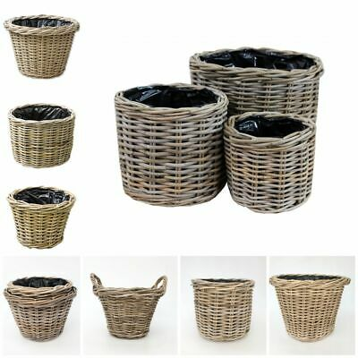 Grey & Buff Rattan Wicker Basket Round Woven Planter Flower Pot Plant Container • 11.95£