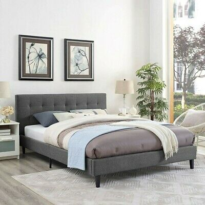 $ CDN299 • Buy Full Size Fabric Tufted Bed Frame With Headboard  Footboard And Wooden Slats
