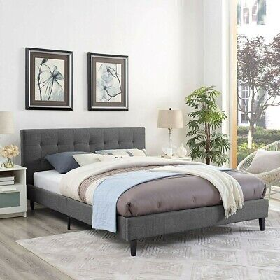 $ CDN279 • Buy Queen Size Fabric Tufted Bed Frame With Headboard  Footboard And Wooden Slats