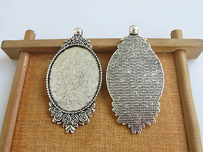 £5.99 • Buy 10x Antique Silver 30x40mm Oval Pendant Tray Blanks Bezel Cameo Cabochon Setting