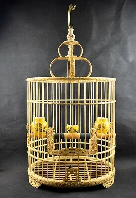 $150 • Buy Bamboo Carved Dragon Asian Bird Cage Round Chinese Wooden Pet Nest Home