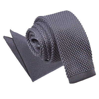 Charcoal Mens Skinny Tie Hanky Set Knit Knitted Plain Casual Necktie By DQT • 9.99£