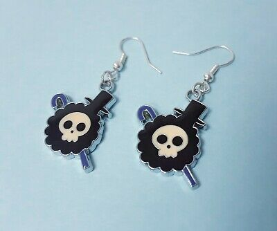 $3.99 • Buy Anime Skull One Piece Blue Emo Punk Charm Earrings Hooks Silver Plated Jewelry