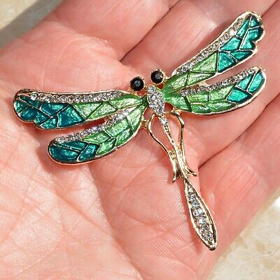 £8.50 • Buy Art Deco Dragonfly Brooch Green Crystal Insect Fly Pin Broach Vintage Style Gift