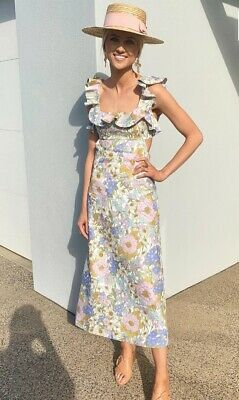 $420 • Buy NEW Zimmermann Frilled Design Floral Print Super Eight Midi Dress 0,1,2