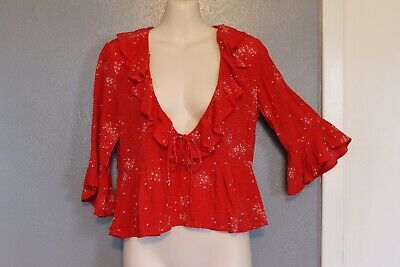 $49.99 • Buy Auguste The Label Red Celestial Grace Star Ruffled Top Blouse 2