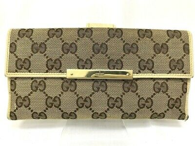 $74 • Buy Gucci Wallet GG Canvas Bifold White Authentic Carved Gold Logo Clasp 5809462
