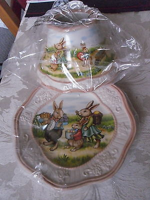 Yankee Candle Medium Or Large Jar Vintage Easter Bunny Shade & Tray Set New Vhtf • 99.95£