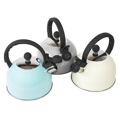 1.3L Vintage Stainless Steel Whistling Kettle Gas Stove Hob Top Camping Caravan • 21.99£