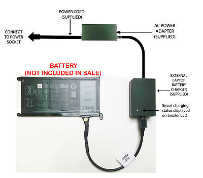 External Laptop Battery Charger For Dell Inspiron 15 5565 5567 5568 5578, WDX0R • 52.98£