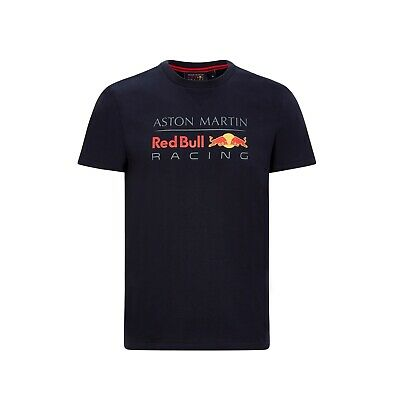 Aston Martin Red Bull Racing Official Men's Large Logo T-shirt - Blue - 2020 • 26£