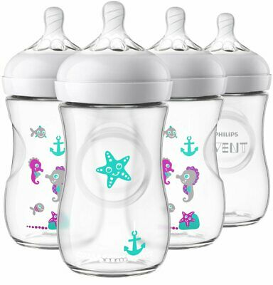 AU36.83 • Buy Philips Avent Natural Baby Bottle Clear With Seahorse Design 9 Oz - 4 Pack