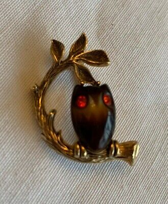 $10.99 • Buy Vintage EMMONS Owl On A Branch Brooch Pin With Red Rhinestone Eyes