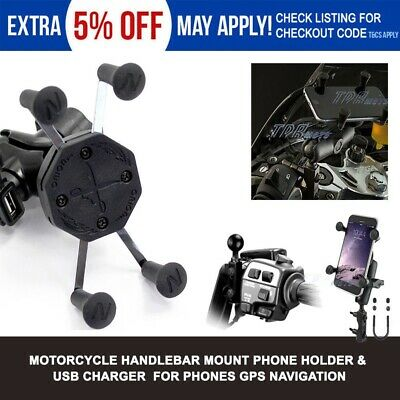 AU40.76 • Buy Motorcycle X Mount Cradle Grip Holder USB Charger For Mobile Smart Cell Phone