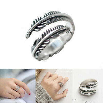 925 Sterling Silver Feather Ring Band Open Finger Fully Adjustable Jewelry • 5.39£