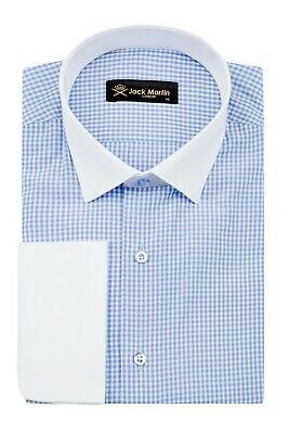 £29 • Buy Jack Martin - Blue Double Cuff Gingham Check Slim Fit Shirt